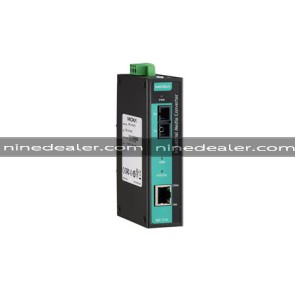 Industrial 10/100BaseT(X) to 100BaseFX media converter, single mode, SC connector, -40 to 75 °C